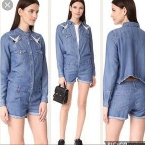 The Kooples embroidered chambray denim romper